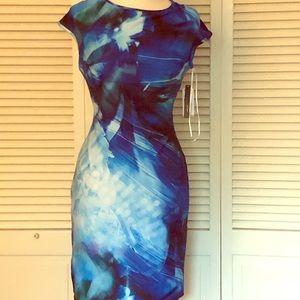 Size 10 scuba watercolor sheath dress